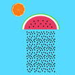 Concept of a rainy melon. Vector illustration. Modern flat design. - 176720711