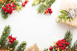 Christmas and New Year holiday background. Xmas greeting card. Glitter bokeh light. Flat lay - 176721559