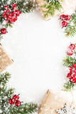 Christmas and New Year holiday background. Xmas greeting card. Snow effect. Flat lay - 176721579