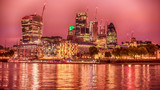 London, the United Kingdom: Skyscrapers of Downtown River Thames at night - 176724778
