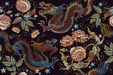 Embroidery vintage chinese dragons and flowers peonies seamless pattern. Classical embroidery asian dragons and beautiful peonies seamless pattern. Art dragons t-shirt design. Clothes, textile art - 176727168