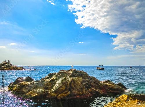 Fotobehang Liguria The rock over Mediterranean sea, Manarola, Cinque Terre, Italy