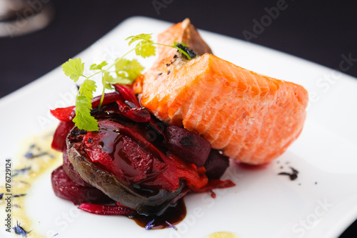 Smoked trout with vegetables