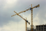 Construction of high-rise building tower crane - 176732578