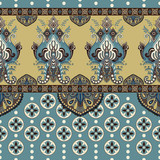 Vector seamless border with decorative ethnic elements. Moroccan style - 176732965