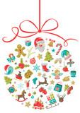 Weihnachtskugel mit Weihnachten Icons - 176737375