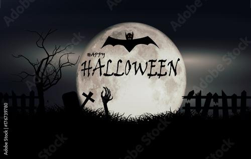 happy halloween text on the full moon