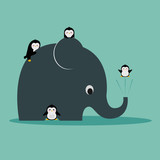 Concept of penguins having fun with an elephant. Vector illustration. Modern flat design