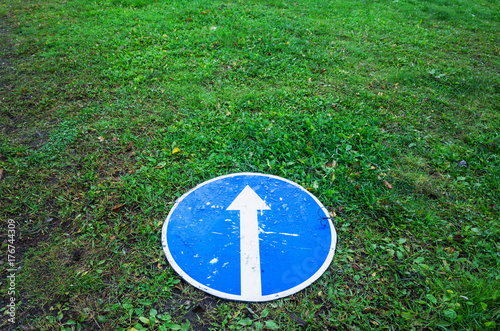 Ahead only, round blue road sign, concept Poster