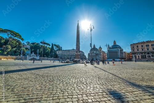 Fridge magnet Sun shining over Piazza del Popolo