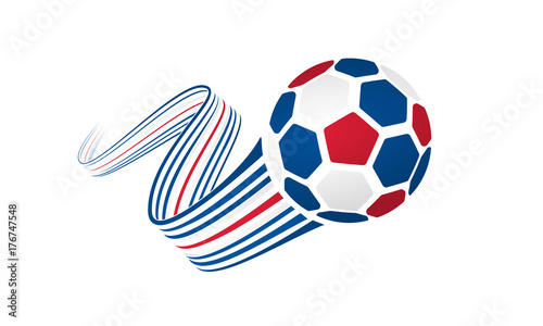 Iceland soccer ball isolated on white background with winding ribbons on blue, white and red colors