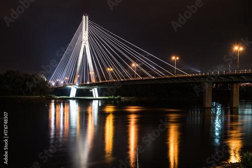 Fototapeta Warszawa - Most Świętokrzyski nocą II