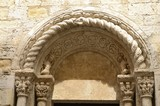 Stone arch of church in Besalu, Girona, Spain - 176749340