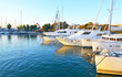 landscape of Alimos marina in Attica Greece - greek yachts and sailboats