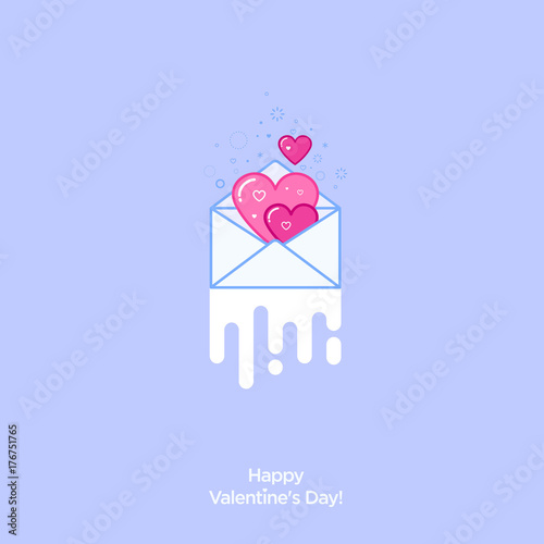 Valentine's Day Card. Wedding invitation. Invitation to date. Pink hearts in an envelope as a letter.