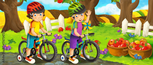 Cartoon scene with young girl and boy on a bicycle near some orchard - illustration for children - 176754739