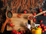 Spices. Culinary, cuisine, recipe background. Variety of vegetables on black table, free space and closeup. Menu, blog concept - 176759561