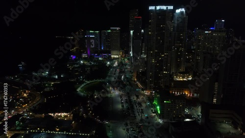 Aerial video Biscayne Boulevard Downtown Miami