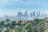 Los Angeles, the business center of California. Cityscape of the downtown, aerial view