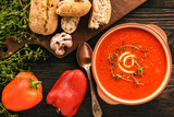 Baked red pepper cream soup with garlic and timian. - 176761796