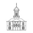 Line flat icon of european medieval building with tower and watch. Vector illustration of Dublin Castle Tower Bedford - popular landmark in Ireland. Irish top-rated attraction lineart. - 176764795
