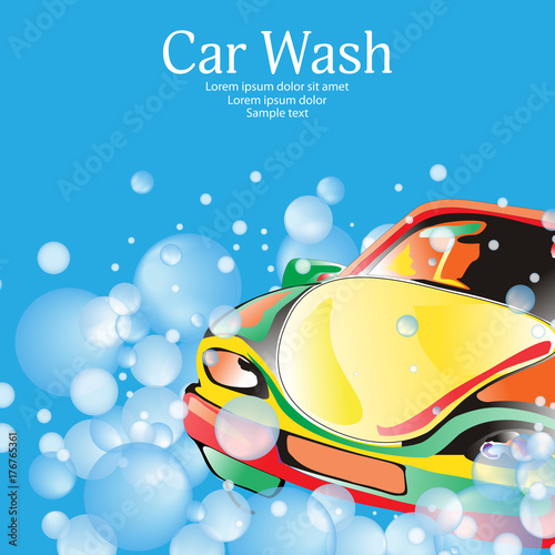 Aluminium Auto Car wash. Poster template for your design. Vector