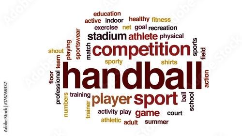 Handball animated word cloud, text design animation.