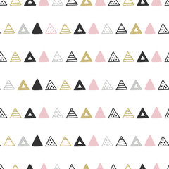 Unique hand drawn seamless pattern with abstract shapes. Vector illustration in monochrome scandinavian style © Oksana Stepova