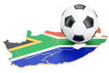 Football ball with map of South Africa concept, 3D rendering - 176775790