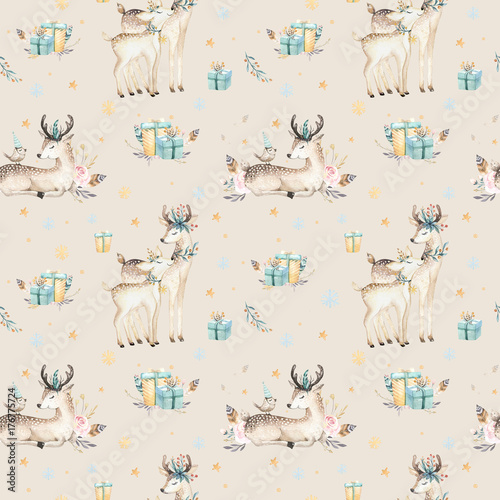 Seamless Christmas baby deer seamless pattern. Hand drawn winter backgraund with deer, snowflakes. Nursery xmas animal illustration. New year design. - 176775724