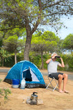 Man alone with tent for adventure camping - 176778770