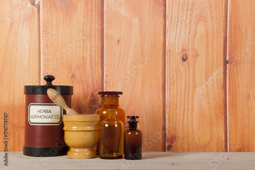 Foto op Aluminium Apotheek pharmacy objects in interior