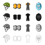 Protective helmet of a bicyclist, knee pads, outfit overalls, timer. Cyclist outfit set collection icons in cartoon black monochrome outline style vector symbol stock isometric illustration web.