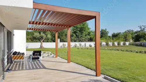 Leinwandbild Motiv Pergola on prefabricated passive house