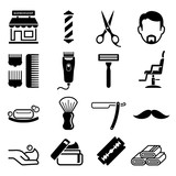 Fototapety Set of barber shop icons. Vector illustrations.