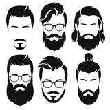Fototapety Set of hipster barber elements. Vector illustrations.