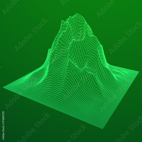 Foto op Canvas Groene Wireframe terrain vector background. Cyberspace landscape grid technology illustration