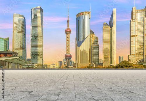 Urban architecture landscape road and skyline Poster