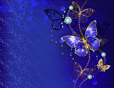 Blue background with sapphire butterfly - 176804303