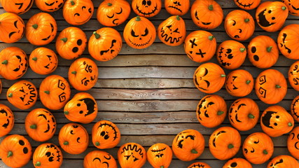 3D Render Wide angle Top view of a lot of funny Jack-O-Lantern or Halloween pumpkins  on wood ground look at the same point. With circle space on center and ready to make a card.