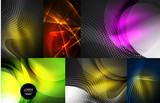 Set of glowing neon waves - 176806962