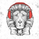 Hipster animal lion. Hand drawing Muzzle of lion - 176807962