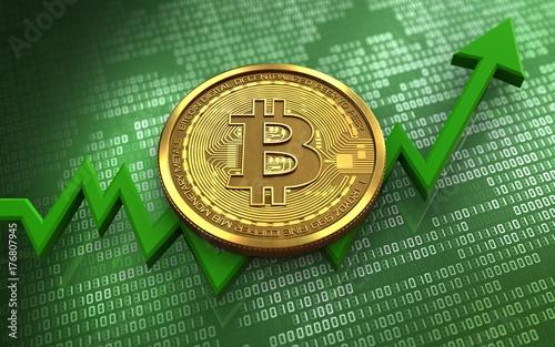 Fotobehang Hoogte schaal 3d bitcoin