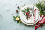 Elegant christmas table setting design (top view, flat lay) - 176808964