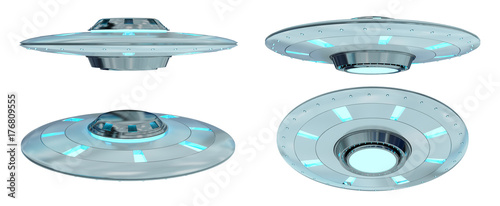 Aluminium UFO Vintage UFO collection isolated on white background 3D rendering