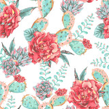 Vintage seamless pattern with blooming flowers - 176810579