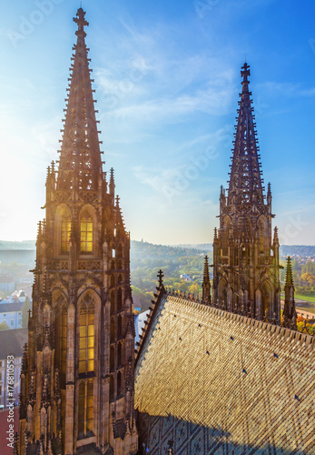 The spires of stone towers of the Cathedral Saints Vitus in the sunny day Poster