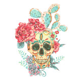 Vintage vector card with skull and roses - 176810900