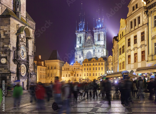 Night view of the Staromestske Square in Prague Poster