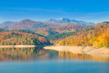 Panoramic view of Lokvarsko lake, beautiful colorful mountain autumn landscape, Lokve, Gorski kotar, Croatia  - 176811745